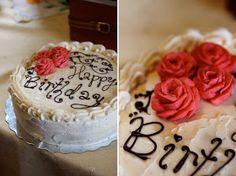 Birthday Cake (Buttercream Roses & Piped Chocolate) Idea for mom's birthday cake!!