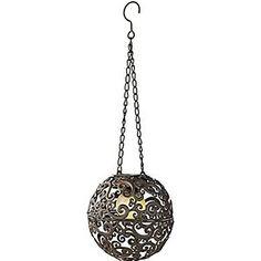Solarleuchte Kugel LED Mit Ornamenten Dämmerungsautomatik Zum Hängen Braun  Bronze