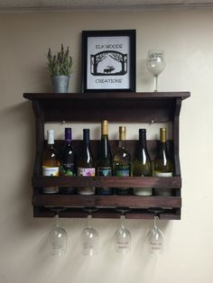 Wooden wine rack. Displays standard and large wine bottles. Wall mounted wine rack. Hand made. Wall mount wooden wine rack. Wine crate.