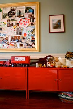 red lockers...anyone know where I could find short lockers like this?? Would be PERFECT for the boy!