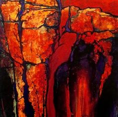 Daily Painters Abstract Gallery: Carol Nelson Geologic Abstract Art, Carol Nelson mixed media painting workshops, golden poppy paintings,
