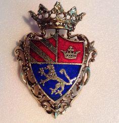 Vintage Enamel Pin Heraldic Crowned Shield Lion Rampant Crown w/ Cross Red Blue #Unbranded
