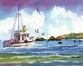 Watercolour Print Fishing Boat Mumbles South Wales