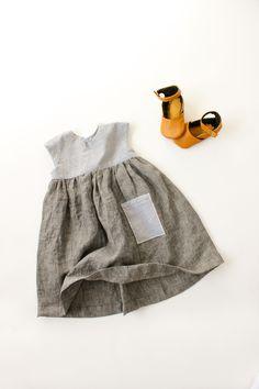 Geranium Dress and Natty Jane leather baby shoes // Delia Creates