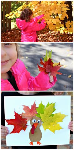 Leaf Turkey Craft #Thanksgiving craft for kids to make! #leaves #fall art project | CraftyMorning.com