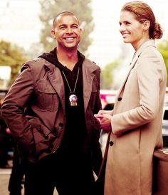 Jon Huertas and Stana Katic on the set of Castle.
