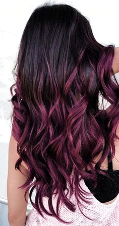 Hair Color Ombre Purple Burgundy Haircolor 51 Best Ideas - All For Hair Color Balayage Red Ombre Hair, Bright Red Hair, Hair Color For Black Hair, Hair Color Balayage, Cool Hair Color, Blonde Color, Hair Highlights, Caramel Highlights, Colorful Hair