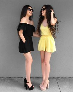 different shoes for both outfits Twin Outfits, Matching Outfits, Outfits For Teens, Summer Outfits, Cute Outfits, Teen Fashion, Love Fashion, Fashion Outfits, Womens Fashion