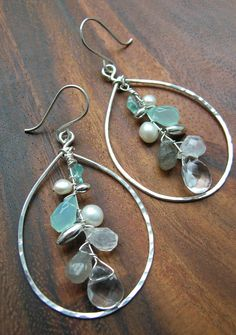Up Stream, Large Silver Hammered Hoop Chandelier Gem Stone Earrings.  via Etsy.
