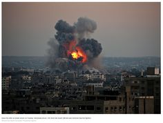 Gaza City after an Israeli attack on Tuesday, July 8, 2014. http://www.nytimes.com/2014/07/09/world/middleeast/israel-steps-up-offensive-against-hamas-in-gaza.html?emc=edit_th_20140709nl=todaysheadlinesnlid=59465609_r=0
