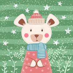 Cute winter bear characters vector image on VectorStock