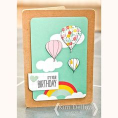 Up up and away! Just remembering back to a card I posted on kimdellow.co.uk on Wednesday. I do love hot air balloons these ones were made with #PennyBlackStamps and #projectlife journal cards for my demo at #craftsuloveshop last weekend. I think it is such a sunny card. #cardmaking #papercrafts #papercrafting #hotairballoon #sunshine #kimdellow