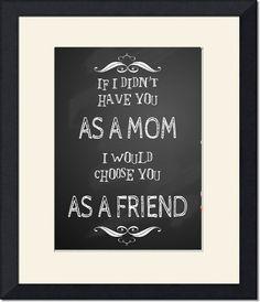 Christmas gift for Mom: CHALKBOARD vintage sign friend mum sister aunt decor printable art Print typography grandmother love family