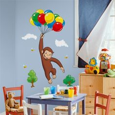 ooo must have a Curious George room! maybe with bright yellow and red, green and Blue handprints on it!