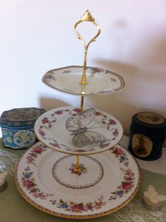 Vintage 3 tiered Cake Stand, Pretty Pink Cake Stand, Cake Stand. by VintageShepherdess on Etsy