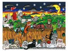 """Cat Scratch Fever, Limited Edition 3D popart by Charles Fazzino. 12""""x9"""""""