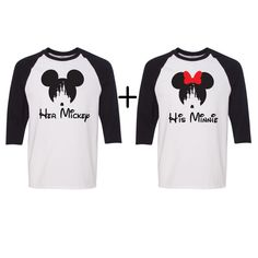 Couples UNISEX Baseball tees, Disney shirts, Her Mickey, His minnie, Disney couples shirts, Disney inspired shirts, Disney christmas shirts by JSAPPARELLB on Etsy https://www.etsy.com/listing/471590750/couples-unisex-baseball-tees-disney