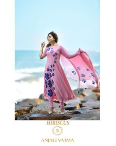 Explore our monsoon collection 2019 which is beautiful amalgamation of exotic designs&stunning shades.its inspired by a plant of the mallow… Long Dress Design, Dress Neck Designs, Blouse Designs, Anarkali Dress, Anarkali Suits, Churidar Suits, Punjabi Suits, Chudidhar Designs, Mother Of The Bride Suits