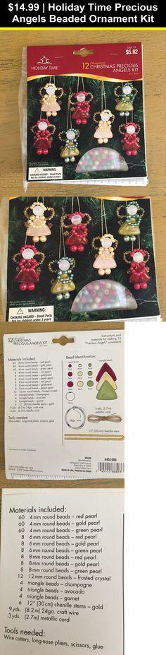 May Dark Green Beaded Safety Pin ANGEL Christmas Ornament KIT 4 Inch SEALED Bead