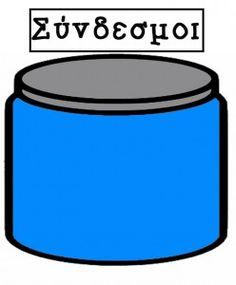 Βαζάκια της γραμματικής (ακλιτα μέρη) -ΒΑΖΑΚΙ ΣΥΝΔΕΣΜΟΙ Coffee Cans, Canning, Education, School, Blog, Blogging, Home Canning, Educational Illustrations, Learning