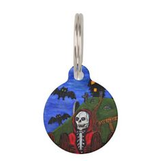 #Grim Reaper Skeleton Haunted House Tombstones Pet ID Tag - #halloween #party #stuff #allhalloween All Hallows' Eve All Saints' Eve #Kids & #Adaults