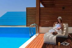 Relaxation Moments by the Pool - Mediterranean Suite with Private Pool Rhodes Hotel, Calming Sounds, Soothing Colors, Mediterranean Sea, Hotel Spa, Private Pool, Photo Galleries, Relax, Swimming