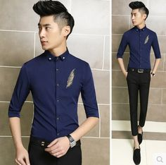 Find More Casual Shirts Information about 2015 New Summer Shirt Fashion Men Golden Embroidered Party Prom Casual Shirts Free Shipping 202,High Quality Casual Shirts from HOTI STYLE on Aliexpress.com