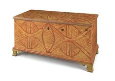 Berks County, PA painted pine dower chest, ca. 1810, retaining a vibrant red and yellow cat's-eye decoration, 26 3/4'' h.,  48'' w.