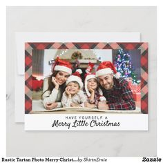 Rustic Tartan Photo Merry Christmas Lettering Holiday Card Christmas Photo Cards, Christmas Quotes, Christmas Greetings, Holiday Cards, Tartan Christmas, Merry Little Christmas, Merry Christmas Typography, Rustic Blue, Lettering