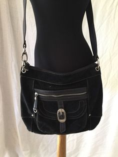 Tignanello $129 Black Super Soft Suede Leather Messenger Cross Body Shoulder Bag #Tignanello #MessengerCrossBody