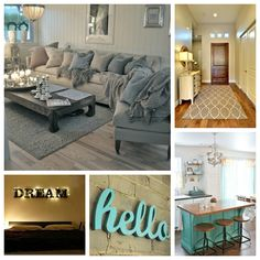 Tiffany Blue and Gray Bedroom | blue gray living area 2 gray rug 3 lighted dream sign in master ...
