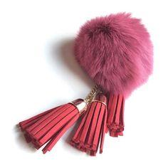 Claret Fuwa Fuwa Keychain ($24) ❤ liked on Polyvore featuring jewelry, ball jewelry, tassel jewelry, fur charm, tassel charms and charm jewelry