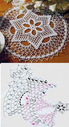 Kira crochet: Crocheted scheme no. Crochet Snowflake Pattern, Crochet Flower Tutorial, Crochet Lace Edging, Crochet Stars, Crochet Snowflakes, Crochet Doily Patterns, Granny Square Crochet Pattern, Crochet Diagram, Filet Crochet