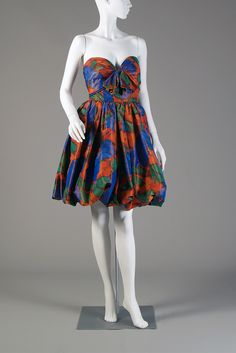 Orange, green and blue strapless taffeta dress with bubble skirt, Oscar de la Renta, 1986, KSUM 1989.34.7.