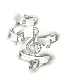 Might add ribbon and music notes as a background to my current music tattoo. Music Drawings, Pencil Art Drawings, Drawing Sketches, Tattoo Drawings, Cool Drawings, Drawing Music Notes, Music Sketch, Sketching, Music Tattoo Designs