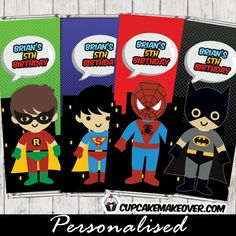 comic superhero party favor tags personalized pinterest