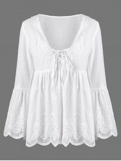 Flare Sleeve Scalloped Edge Lace Up Blouse - White Dressy Lace Tops, Sammy Dress, Neck Pattern, Mode Outfits, Party Fashion, Blouse Designs, Blouses For Women, Ideias Fashion, Fashion Dresses