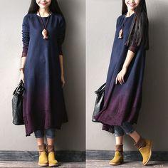Gradient color wool dress - Tkdress  - 3