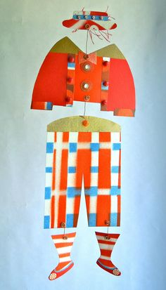 Circus+clown+red+blue+orange+paper+collage+mobile+by+musesintheair,+$30.00