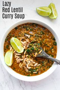 A delicious Red Lentil Curry Soup for when you are feeling lazy or in a hurry for a quick meal, but still want something full of flavor, healthy and homemade. This soup is SO easy and incredibly quick to make. It is vegan, gluten-free, oil-free, dairy-free and high in protein!