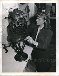 1944 Press Photo Miss Patton and Carved Bronze Falcon Lamp for Rudolph Valentino Rudolph Valentino, Press Photo, Most Beautiful Man, Carving, Bronze, Punk, Hollywood, Contemporary, Best Deals