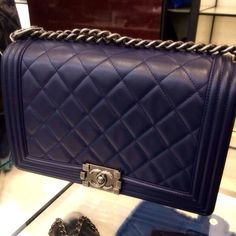 New addition to my Chanel family - Navy Chanel Boy bag in new medium
