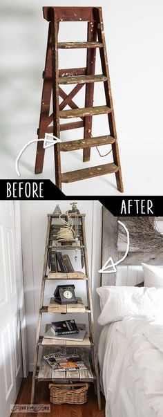 DIY Furniture Hacks |  Step Ladder Side Table  | Cool Ideas for Creative Do It Yourself Furniture Made From Things You Might Not Expect - http://diyjoy.com/diy-furniture-hacks