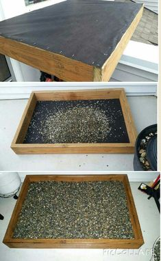 DIY Outdoor Dog Potty -Weed barrier cloth used on bottom to protect elastomeric deck coating. -Filled with 4 bags of pea gravel -Rinse regularly with Indoor Dog Potty, Porch Potty, Dog Yard, Dog Fence, Backyard Dog Area, Outdoor Dog Area, Diy Dog Run, Dog Bathroom, Dog Toilet