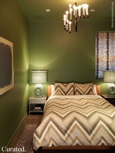 Farrow & Ball color #34 Calke Green at our Sun Residence Guest Bedroom.