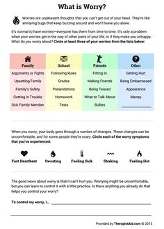 Use this worksheet to educate children and young adolescents about worry, help them become more aware of their own worries, and learn about physical symptoms of worry. Finally, the worksheet opens a conversation about healthy strategies to manage worry. Cbt Worksheets, Counseling Worksheets, Therapy Worksheets, Counseling Activities, Social Work Worksheets, Feelings Activities, Kid Activities, Cbt Therapy