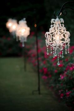 Mini Chandeliers with Shepherd Hooks