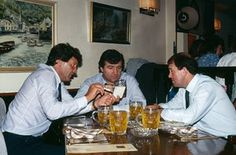 John Toshack, Terry Venables and Howard Kendall meet up for a meal and drink in Spain. All three British managers are working in the country. Kendall manages Athletic Bilbao, Venables is at Barcelona and Toshack at Real Sociedad.