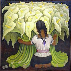 Diego Rivera - The Flower Vendor (Girl with Lilies) 1941 at the Norton Simon Museum in Pasedena, CA Diego Rivera Mural, Diego Rivera Frida Kahlo, Frida And Diego, Mexican Paper Flowers, Norton Simon, Art Brut, Art Moderne, Mexican Folk Art, Love Art