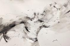 ewa hauton 70x100cm ink on paper https://www.facebook.com/ewahauton/ #danseur #ink #paper #encre